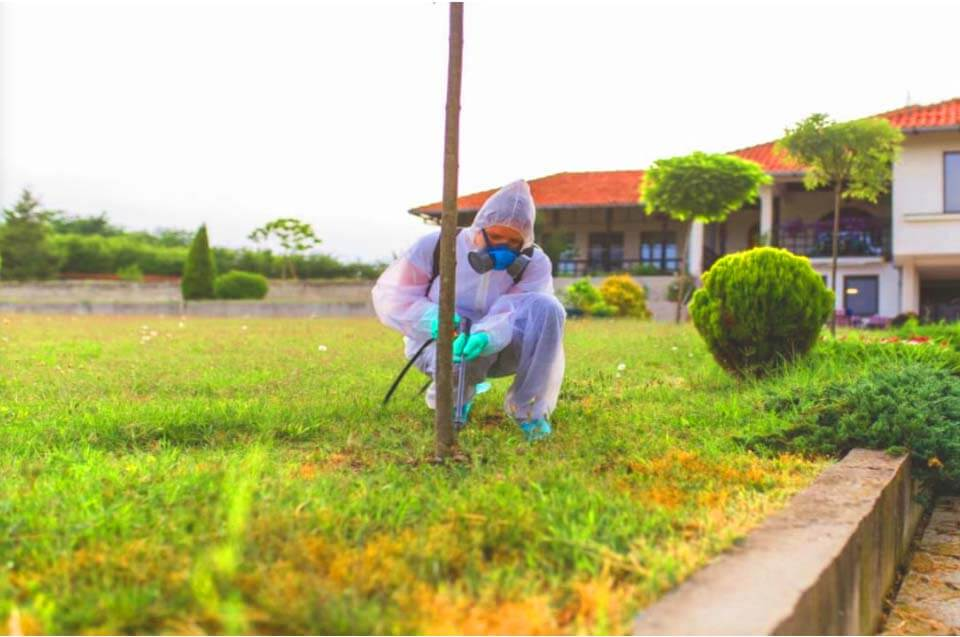 a man in full pest control suit